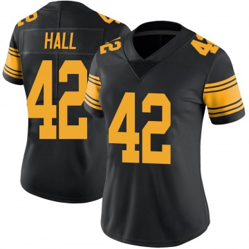Women's Darrin Hall Pittsburgh Steelers Limited Black Color Rush Jersey